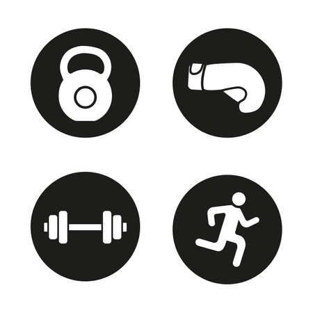 Sport and fitness icons set. Gym dumbbell and kettlebell, running man and boxing glove. Active lifestyle. Vector white silhouettes illustrations in black circles