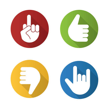 Hand gestures flat design long shadow icons set. Thumbs up, dislike, heavy metal, middle finger up. Vector silhouette illustration Illustration