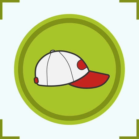 Baseball cap color icon. Isolated vector illustration