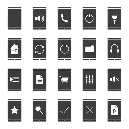 media gadget: Smartphone apps icons set. Silhouette symbols. Home page, playlist, listen to music, media file, folder, rate, refresh, mute on and turn off buttons. Vector isolated illustration