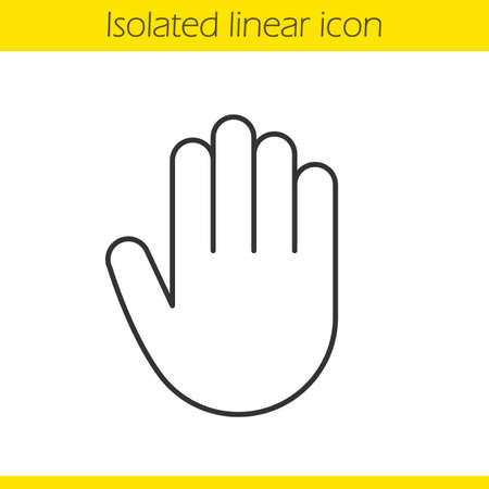 forefinger: Palm linear icon. Hand thin line illustration. Stop, greeting and high five gesture contour symbol. Vector isolated outline drawing Illustration