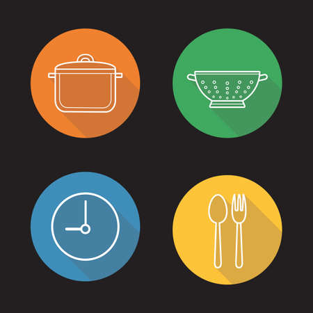 bolter: Mealtime flat linear long shadow icons set. Cooking process. Stew pan, fork and spoon, clock, kitchen sieve. Vector line illustration