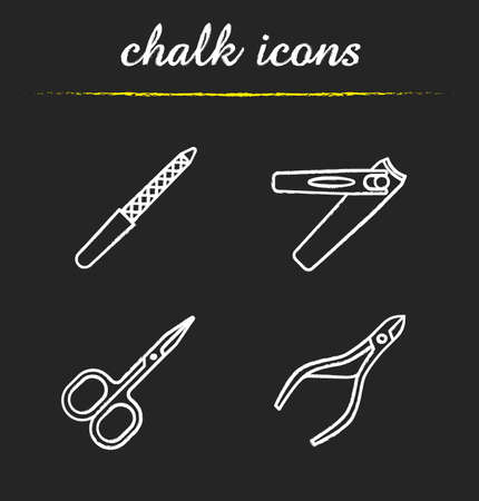 Manicure chalk icons set. Pedicure and manicure equipment. Cuticle nipper, scissors, nail file, tweezers. Isolated vector chalkboard illustrations