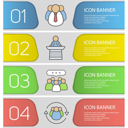 Business banner templates set top manager conference speaker business banner templates set top manager conference speaker teamwork team management wajeb