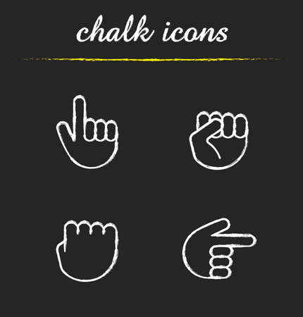 Hand gestures chalk icons set. Squeezed and raised fists, hands pointing right and up. Isolated vector chalkboard illustrations