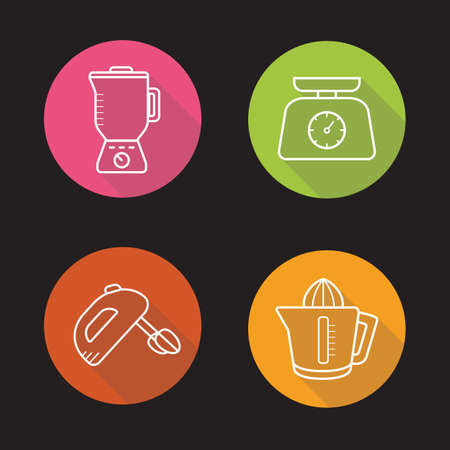 squeezer: Kitchen appliances. Flat linear long shadow icons set. Blender, hand mixer, juicer, kitchen food scales. Vector line illustration