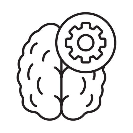 brain illustration: Practical mind linear icon. Technical thinking thin line illustration. Human brain with cogwheel contour symbol. Vector isolated outline drawing