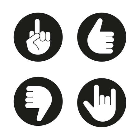 horn like: Hand gestures icons set. Thumbs up, dislike, heavy metal, middle finger up. Vector white silhouettes illustrations in black circles Illustration