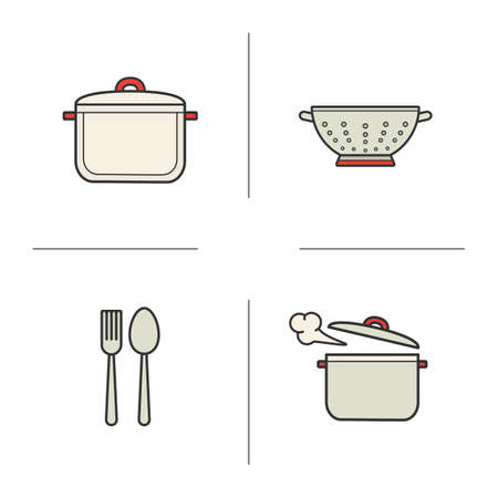 bolter: Kitchen items color icons set. Stew pan, fork and spoon, steaming saucepan, kitchen sieve. Isolated vector illustrations Illustration