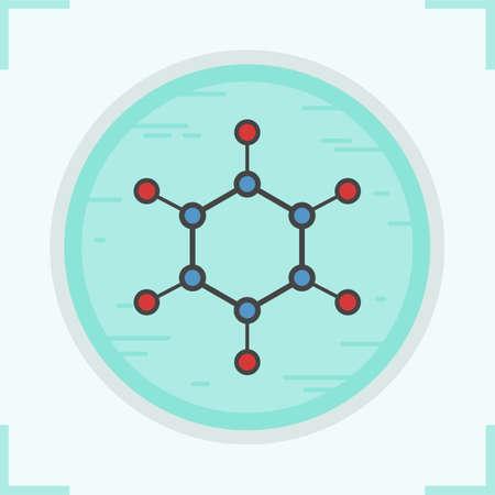 Icono de color de la molécula. Modelo de estructura molecular. Ilustración de vector aislado