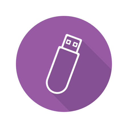 storage device: USB flash drive. Flat linear long shadow icon. USB stick. Vector line symbol