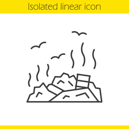 contamination: Rubbish dump linear icon. Garbage thin line illustration. Environment pollution. Trash contour symbol. Vector isolated outline drawing Illustration