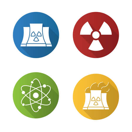 atomic symbol: Atomic energy flat design long shadow icons set. Nuclear power plant with smoke, radiation and atom symbols. Vector silhouette illustration