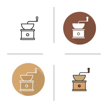 long bean: Coffee grinder icon. Flat design, linear and color styles. Vintage coffee mill. Isolated vector illustrations