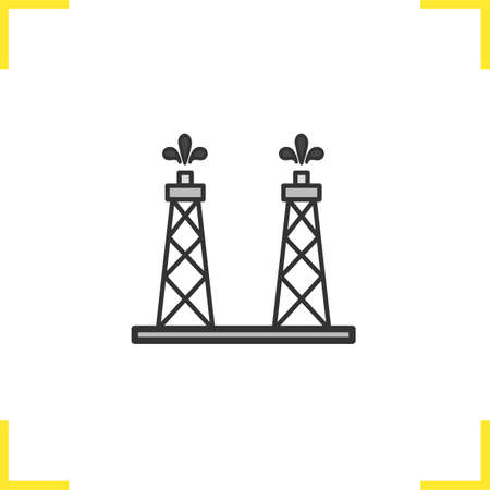 oil and gas industry: Oil production platforms color icon. Oil towers. Isolated vector illustration