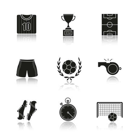 soccer field: Soccer drop shadow black icons set. Football t-shirt, shoes and shorts, field, whistle, stopwatch, gate, ball in laurel wreath, winners gold cup. Isolated vector illustrations