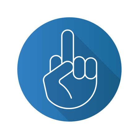 Middenvinger omhoog. Platte lineaire lange schaduw icoon. Flipping handgebaar. Vector lijn symbool