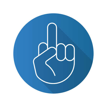 Middle finger up. Flat linear long shadow icon. Flipping hand gesture. Vector line symbol