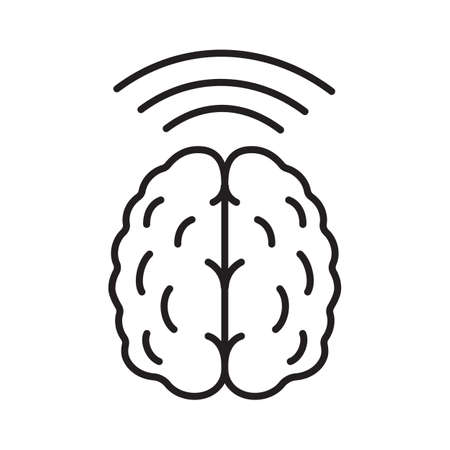 Brain waves linear icon. Thin line illustration. Hypnosis contour symbol. Vector isolated outline drawing