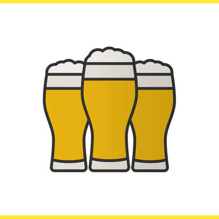 Three beer glasses color icon. Foamy light beer glasses. Isolated vector illustration