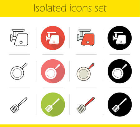 Kitchenware icons set. Flat design, linear, black and color styles. Meat grinder, spatula, frying pan. Isolated vector illustrations Illustration