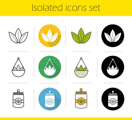 Tea icons set. Flat design, linear, black and color styles. Loose tea leaves in bulk, container. Isolated vector illustrations Illustration