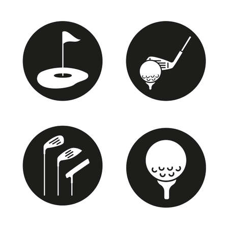 Golf icons set. Golf course, clubs, ball on tee. Vector white silhouettes illustrations in black circles