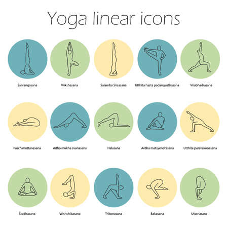 Yoga poses linear icons set. Sarvangasana, halasana, bakasana, uttanasana, siddhasana, vrikshasana, trikonasana, virabhadrasana. Thin line contour symbols. Isolated vector illustrations