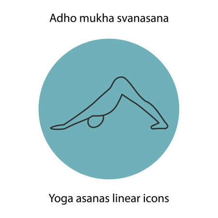 Adho mukha svanasana yoga position. Linear icon. Thin line illustration. Yoga asana contour symbol. Vector isolated outline drawing Illustration