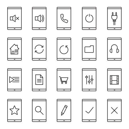 smart: Smartphone apps linear icons set. Home page, playlist, listen to music, new document, folder, shopping, search, rate, mute on and off buttons. Thin line contour symbols. Isolated vector illustrations Illustration