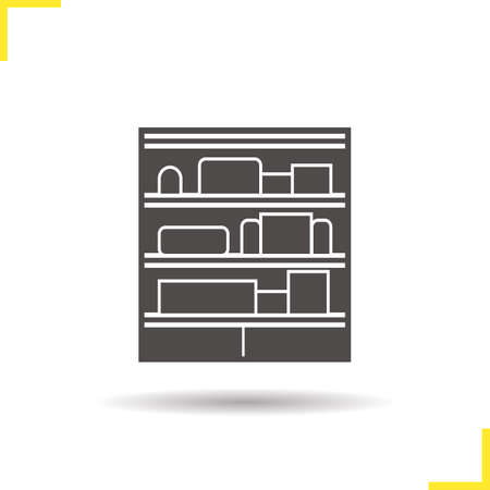 costumer: Shop shelves icon. Drop shadow silhouette symbol. Supermarket stand with goods. Negative space. Vector isolated illustration