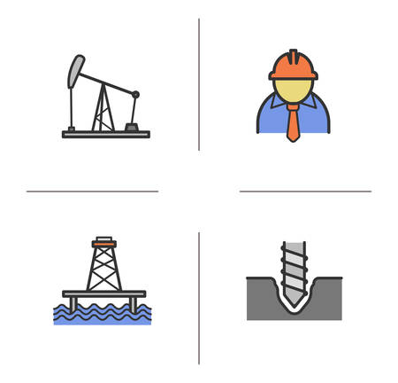 Oil industry color icons set. Drilling, industrial worker, oil pumpjack, offshore sea well. Isolated vector illustrations
