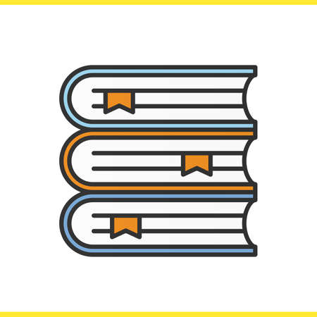 filled: Books stack color icon. Library. School textbooks with bookmarks. Isolated vector illustration