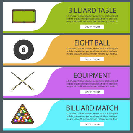 Billiard banner templates set. Snooker ball rack, crossed cues, table, eight ball. Website menu items. Color web banner. Vector headers design concepts