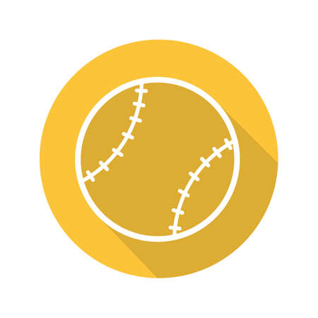 Baseball ball flat linear long shadow icon. Vector line symbol