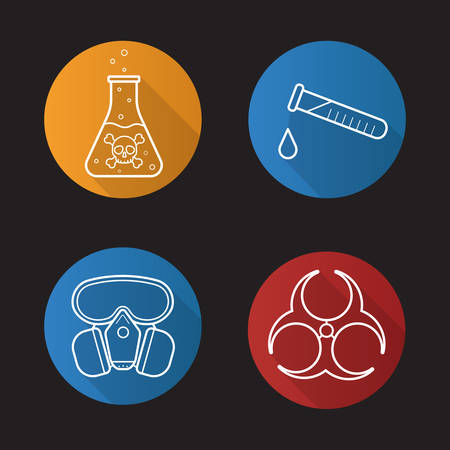 poison bottle: Chemical industry flat linear long shadow icons set. Gas mask, boiling poison liquid, chemical test tube and biohazard danger symbol. Vector line illustration