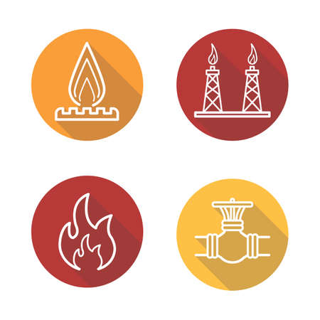 stove pipe: Gas production flat linear long shadow icons set. Gas stove, pipeline valve, flammable sign, gas platform. Vector line illustration