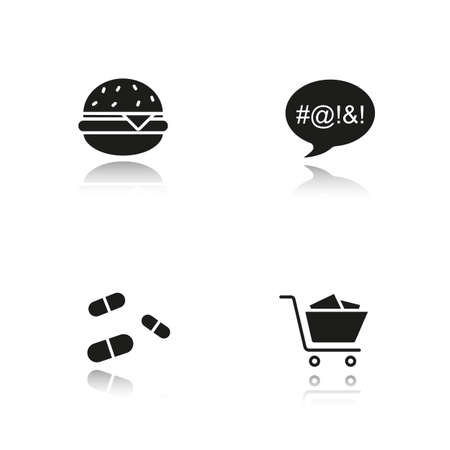 cursing: Addictions drop shadow black icons set. Obesity, dirty language, pills and oniomania shopping. Fast food, drugs, shopping cart and swearing. Isolated vector illustrations