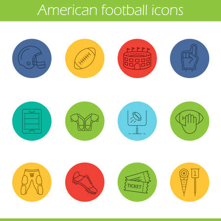 American football linear icons set. Helmet, shoulder pad, ball, shorts, hand holding ball, goal sign, foam finger, game tickets, arena. Thin line contour symbols on color circles. Vector illustrations