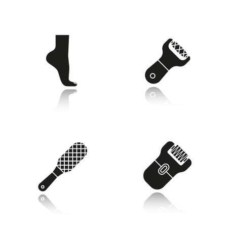 epilator: Feet care drop shadow black icons set. Womans foot, file, rasp, epilator. Isolated vector illustrations