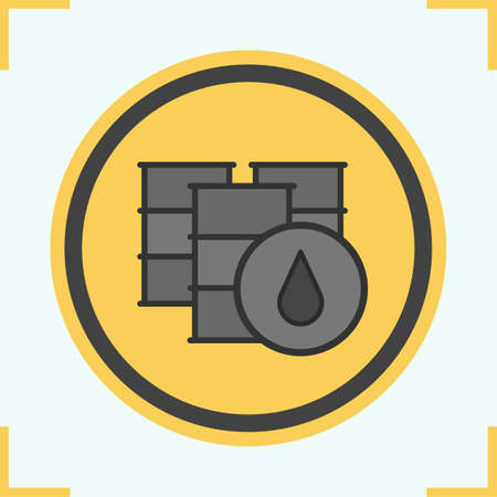 oil and gas industry: Oil barrels color icon. Isolated vector illustration