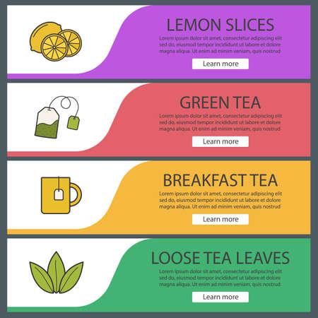 Tea banner templates set. Lemon slices, tea mug and bag, loose leaves. Website menu items. Color web banner. Vector headers design concepts Illustration
