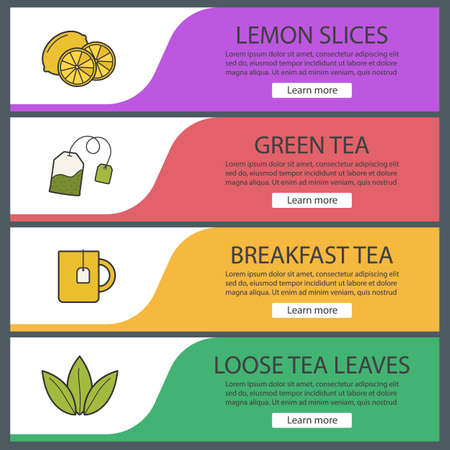 Tea banner templates set. Lemon slices, tea mug and bag, loose leaves. Website menu items. Color web banner. Vector headers design concepts Stock Vector - 76252688
