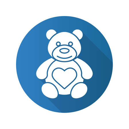 Teddy bear with heart shape. Flat design long shadow icon. Vector silhouette symbol Illustration