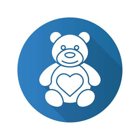 Teddybeer met hartvorm. Platte ontwerp lange schaduw pictogram. Vector silhouet symbool