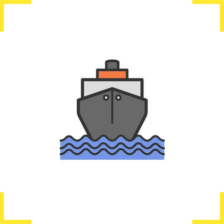 coast guard: Cruise ship color icon. Shipping tanker. Isolated vector illustration Illustration