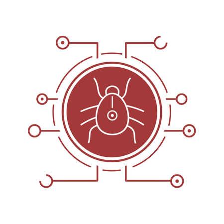 Computer virus flat linear long shadow icon. Malware and spyware bug. Vector line symbol
