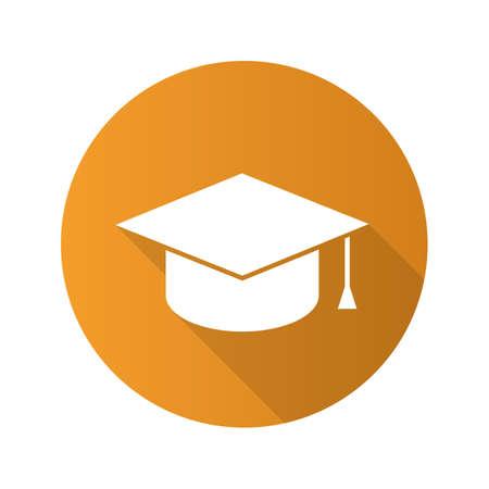 Tapa de graduación académica cuadrada. Icono de la larga sombra de diseño plano. Sombrero de estudiante Vector silueta símbolo Ilustración de vector