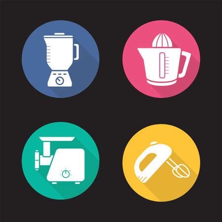 Kitchen appliances flat design long shadow icons set. Blender, juicer, meat grinder and hand mixer. Vector silhouette illustration