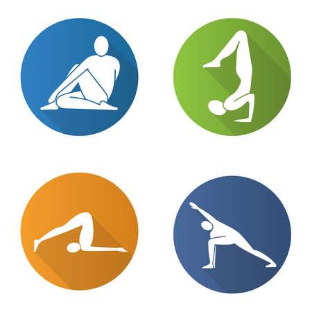Yoga asanas flat design long shadow icons set. Ardha matsyendrasana, vrishchikasana, halasana, utthita parsvakonasana yoga positions. Vector silhouette illustration